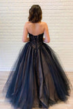 Ball Gown Strapless Lace Up Back Black Lace Appliques Prom Dresses, Sweet 16 Dresses OKT62