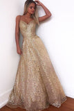 Glitter Gorgeous A-Line Sweetheart Cross Back Gold Sequins Long Prom Dresses OKT63