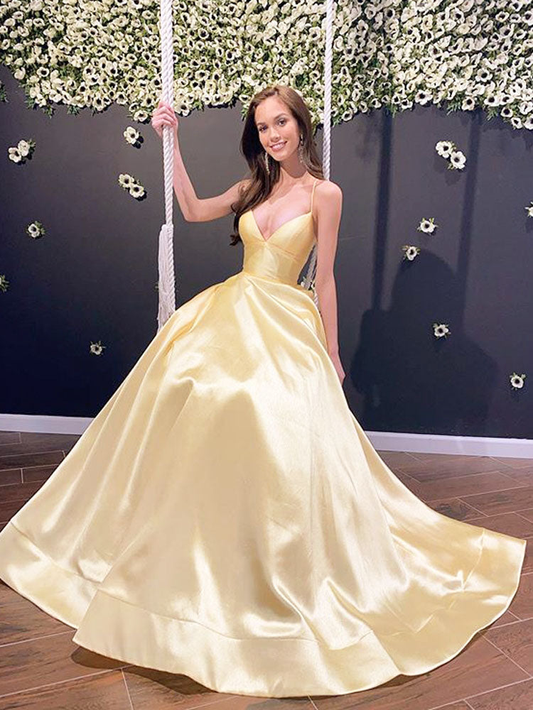 A Line Spaghetti Straps Cross Back Daffodil Satin Long Prom Dresses with Train, Party Dresses with Pockets OKT60