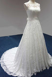 Elegant Bateau A-Line White Lace Long Sleeveless Wedding Dress OK689