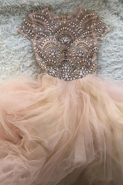 Pink Tulle Beads Long Prom Dress A Line Formal Evening Dress OKP61