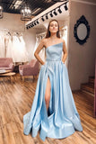 Strapless Satin Light Blue Slit A Line Simple Prom Dresses With Pocktets OKP86