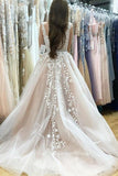 Elegant A-Line V-Neck Long Tulle Backless Wedding Dress with Beading Appliques OK561