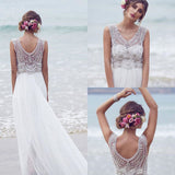 Fashion Chiffon Beading Long V-neck A Line Beach/Coast Wedding Dress,Pretty Bridal Gowns OK265