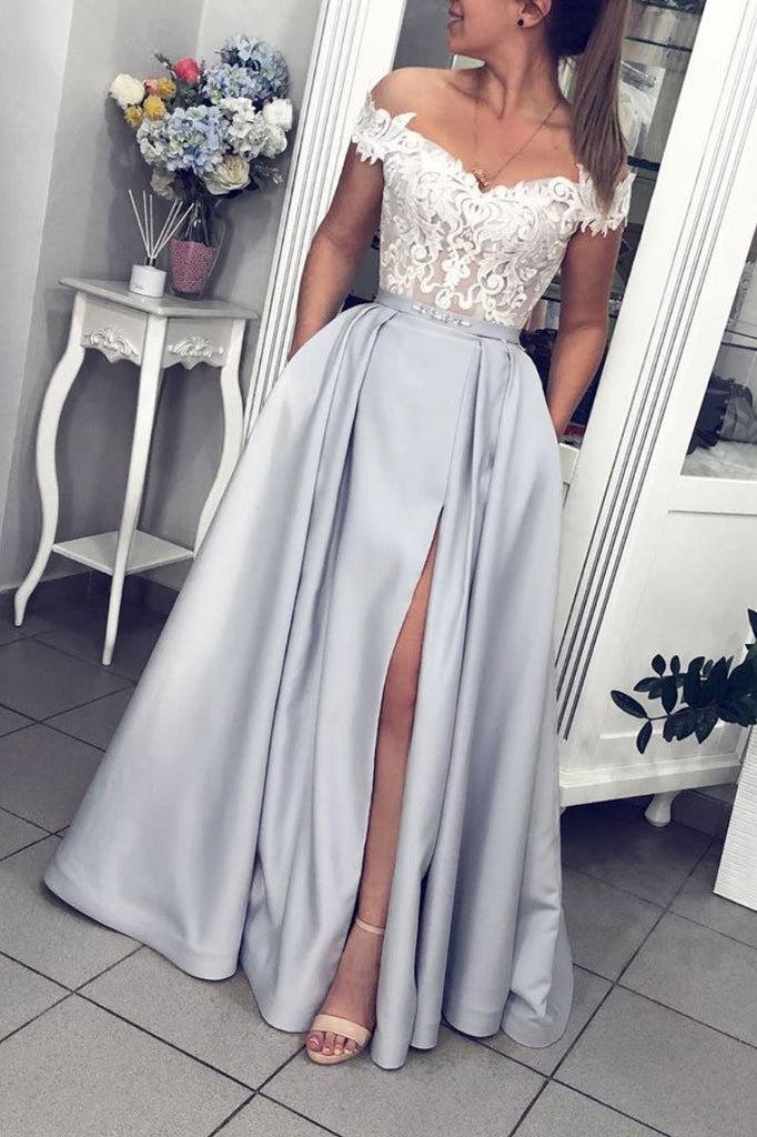 Gray Lace Appliques Off Shoulder Satin Long Prom Dress With Pockets Evening Dress OKQ42