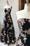 A Line Strapless Black Sequin Long Prom Dress Charming Evening Dress OKQ48