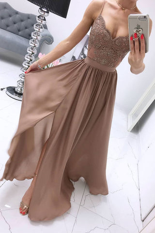 Chiffon A Line Spaghetti Straps Appliques Long Prom Dress With Slit OKS68
