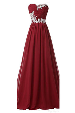 Burgundy Long Beaded Sweetheart Chiffon Lace Prom Dresses OK9