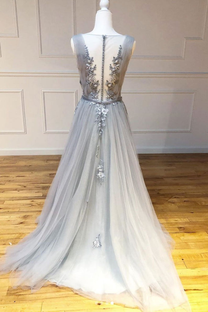 Gray A Line Round Neck Appliques Tulle Long Prom Dress Evening Dress OKQ52
