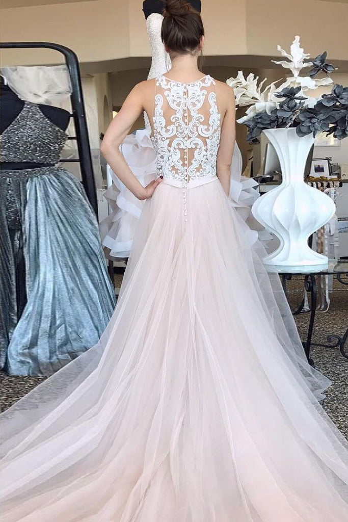 Pearl Pink Tulle A Line Lace Top Long Sleeveless Prom Dresses OKQ2