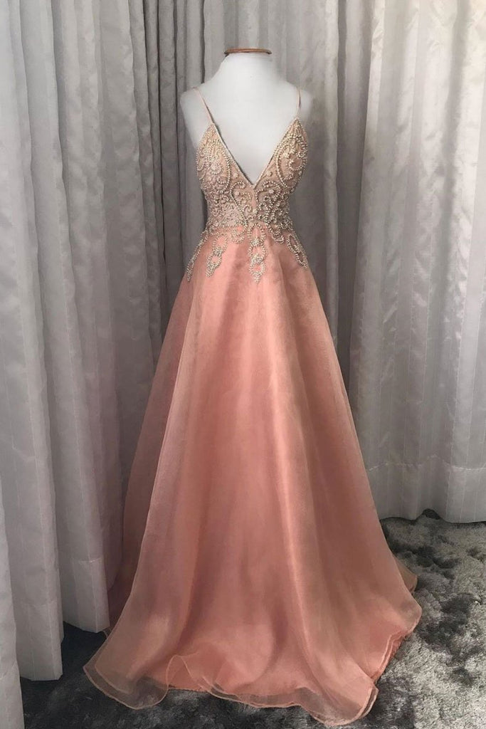 Pink V Neck Tulle Beads Long Prom Dress Spaghetti Straps Evening Dress OKQ53