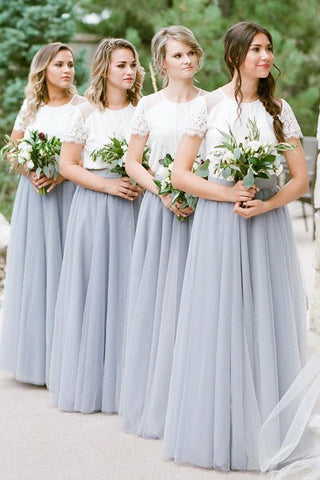 A Line Short Sleeves White Top Gray Long Tulle Bridesmaid Dresses OKG51