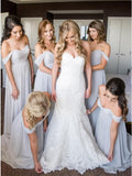A-Line Off-the-Shoulder Light Grey Ruched Chiffon Long Bridesmaid Dress OKS45