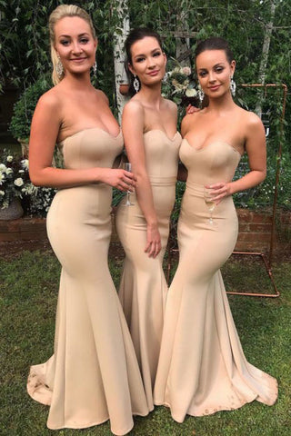 Mermaid Sweetheart Sweep Train Cheap Long Bridesmaid Dress OKR27