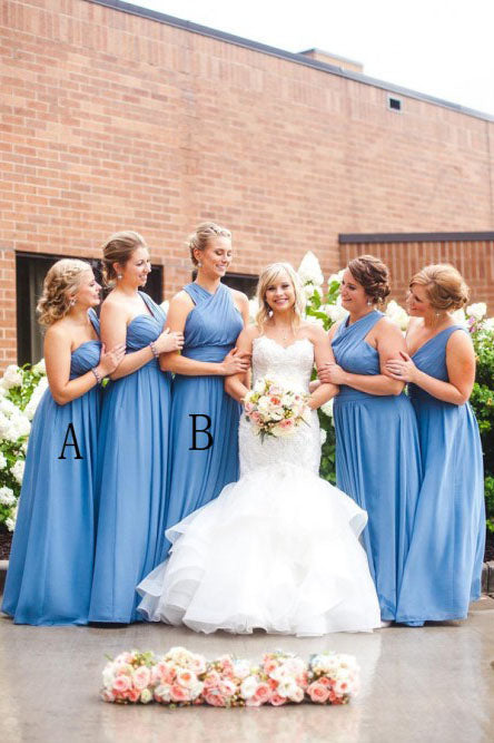 A-Line One-Shoulder Floor-Length Blue Ruched Chiffon Bridesmaid Dress OKS46