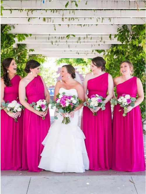 A-Line One-Shoulder Floor-Length Fuchsia Chiffon Bridesmaid Dresses OKS38
