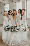 A-Line Open Back Long Sleeves Chiffon Long Bridesmaid Dress with Lace OKS39