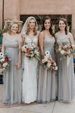 A-Line Spaghetti Straps Floor-Length Grey Chiffon Bridesmaid Dress with Sequins OKS43