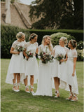 A-Line Short Sleeves Hi-Low Off White Satin Bridesmaid Dress with Lace OKR88