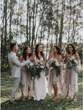 A-Line Off-the-Shoulder 3/4 Sleeves Asymmetry Blush Lace Bridesmaid Dress OKR94