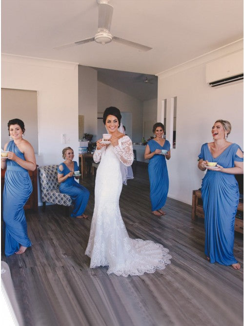 Sheath V-Neck Cold Shoulder Floor-Length Blue Ruched Bridesmaid Dress OKR32