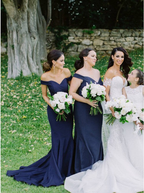 Mermaid Off-the-Shoulder Sweep Train Dark Blue Satin Bridesmaid Dress OKR30