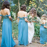 A-Line Off-the-Shoulder Sky Blue Chiffon Long Bridesmaid Dresses OKG60