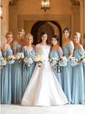 A-Line Cold Shoulder Long Light Blue Chiffon Bridesmaid Dress with Ruffles OKR96