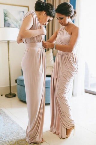 Sheath One-Shoulder Floor-Length Blush Pink Ruched Bridesmaid Dress OKR26