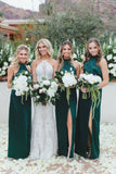 Sheath High Neck Floor-Length Dark Green Long Bridesmaid Dress with Split OKR91