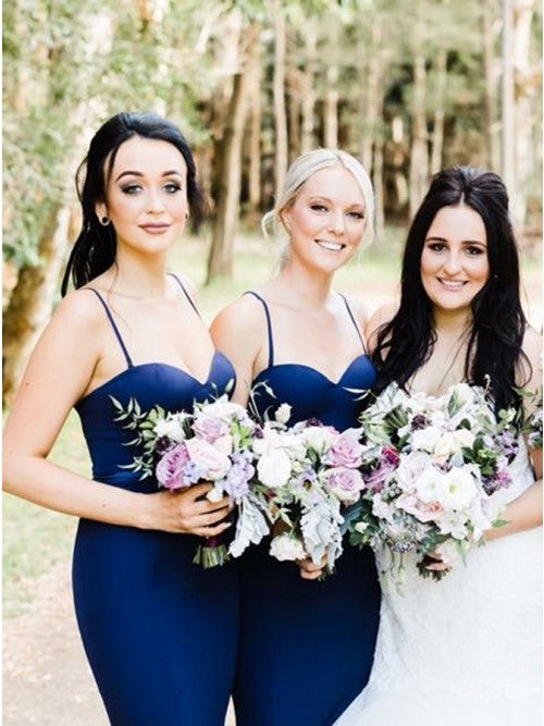 Mermaid Spaghetti Straps Sweep Train Navy Blue Long Bridesmaid Dress OKR25