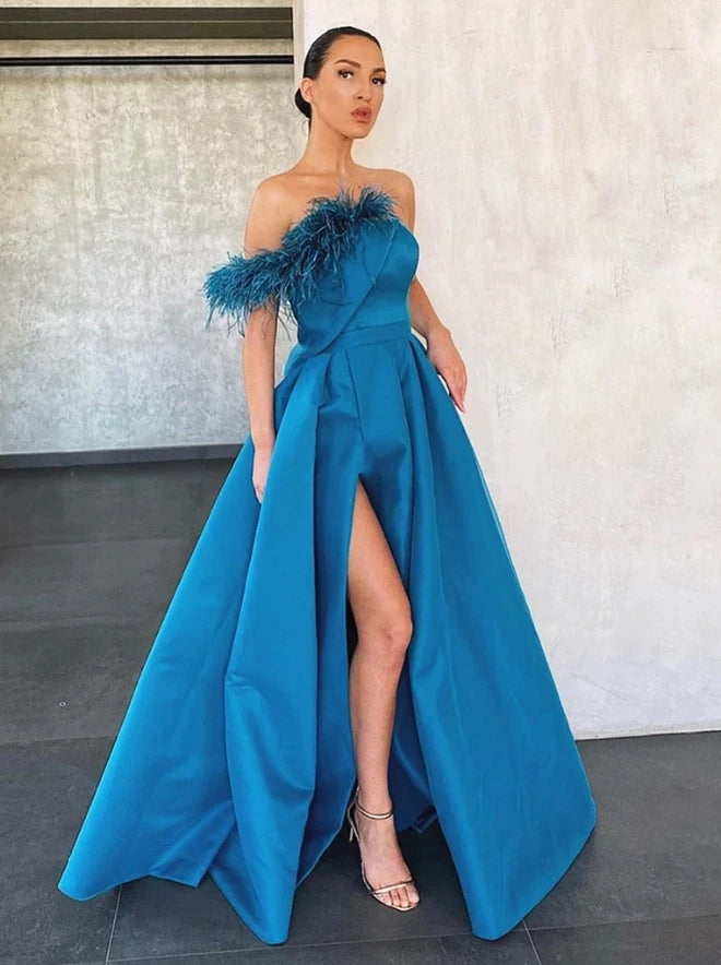 A Line Blue Floor Length Satin Prom Dresses Formal Evening Dresses OKT94