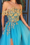 Off Shoulder Blue Gold Lace Prom Dresses, Long Lace Formal Evening Dresses OKT93