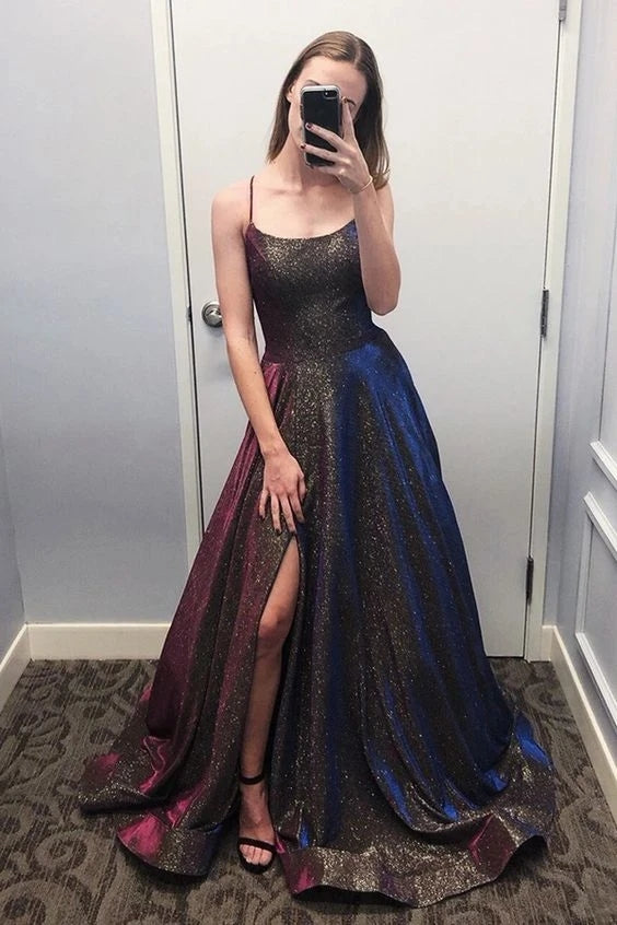 Sparkly Scoop Spaghetti Straps Slit Prom Dresses, Unique Party Dresses with Pockets OKT83