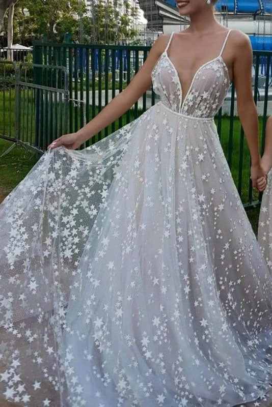 Unique Off White Star Tulle V Neck Long Prom Dress OKT84