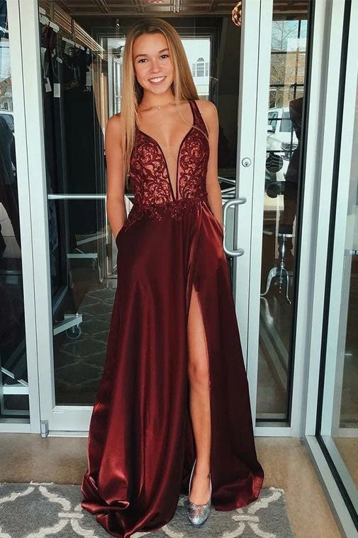 Unique V-neck Sleeveless Burgundy Split Satin Prom Dress with Appliques Pockets OKT87