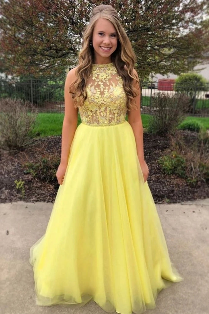Yellow A Line Tulle Lace Top Long Sleeveless Prom Dresses Evening Dress OKT90
