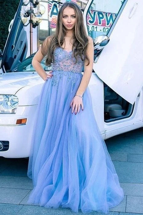 A Line Spaghetti Straps Sky Blue Tulle Long Prom Dress With Appliques OKT82