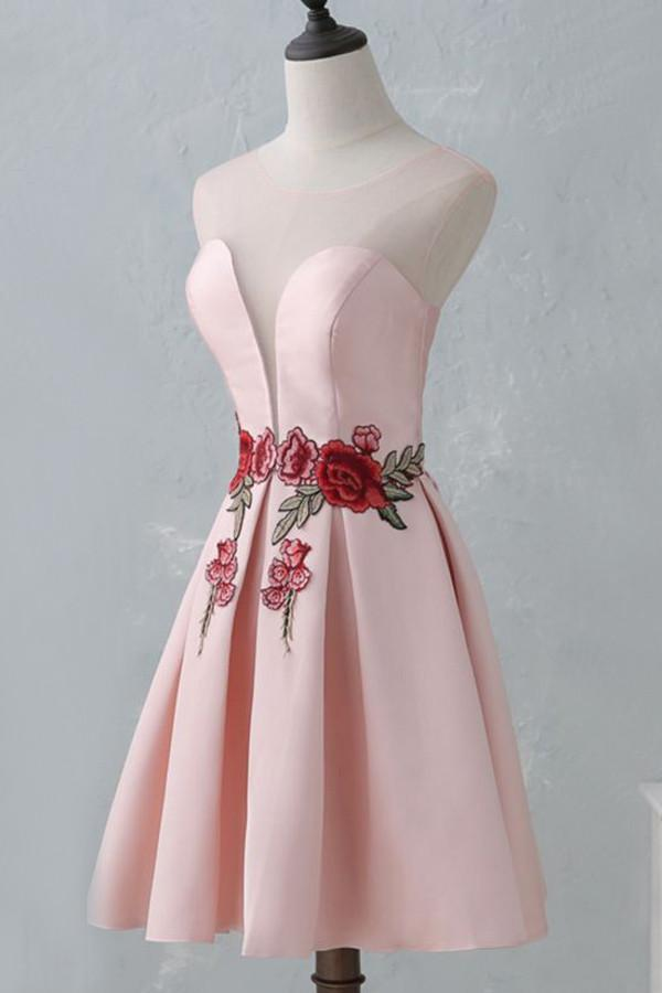 A Line Knee-Length Open Back Pink Satin Homecoming Dress With Flower Appliques OK384