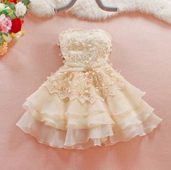 Cute A-Line Short Sweetheart Homecoming Dresses,Lace Short Strapless Summer Prom Dresses OK410
