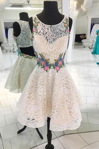 White Lace Short Prom Dress, Floral Appliques homecoming dress OKP60
