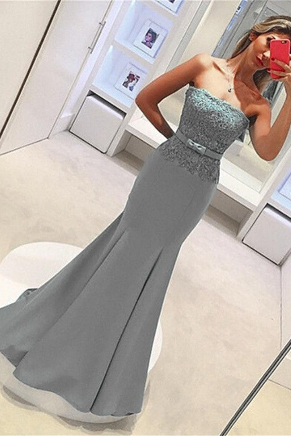 Strapless Lace Satin Elegant Sheath Long Mermaid Simple Prom Dresses K720