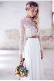 Two Pieces Wedding Dress,Long Sleeves Wedding Dresses,Lace Wedding Dress,Long Wedding Dresses,Beach Wedding Dress,White Bridal Dresses,Elegant Wedding Dress,Sexy Wedding   Gown