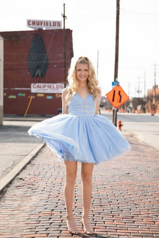 Blue V Neck Tulle Short Prom Dress, A Line Cheap Homecoming Dress OKP46