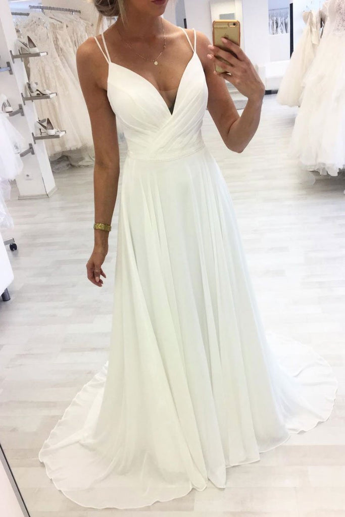 White V Neck Straps Chiffon Long Prom Dress A Line Evening Dress OKQ38