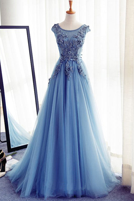 Charming Prom Dress,Long Prom Dresses,Tulle Prom Dresses,Handmade Evening Dress,A Line Prom Gowns,Formal Women Dress,Blue Prom Dress
