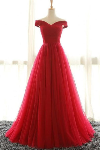 Off Shoulder Long A-line Simple Cheap Red High Low Prom Dresses K690