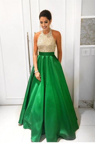 Green A-line Beading Halter Simple Handmade Cheap Backless Prom Dresses K675