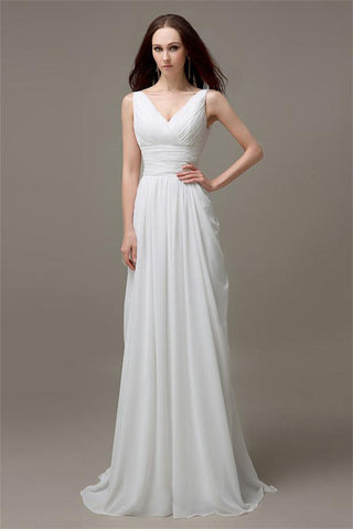 V Neck White Chiffon Long Simple Beach Wedding Dresses Okdresses