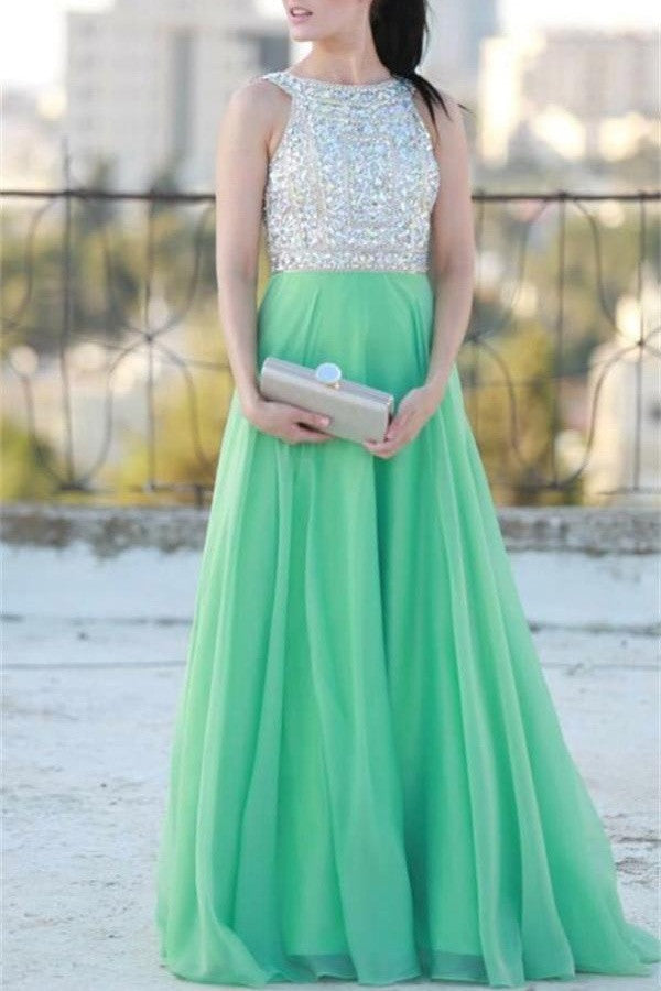 Green Long Beading Chiffon A-line Elegant Prom Dresses For Teens K728